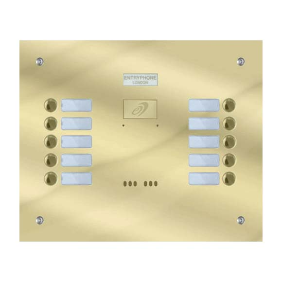 Entryphone - 10 Button Flush Polished Brass Entrance Panel