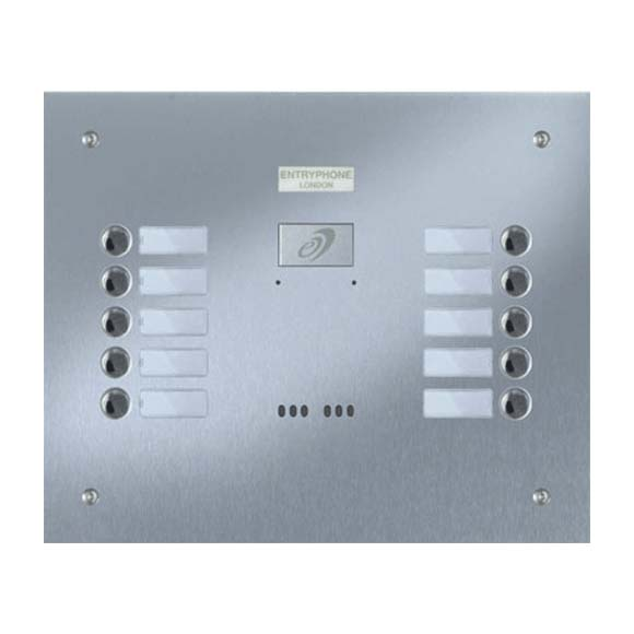 Entryphone - 10 Button Flush Brushed Stainless Steel Entrance Panel