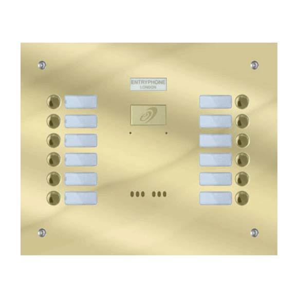 Entryphone - 12 Button Flush Polished Brass Entrance Panel