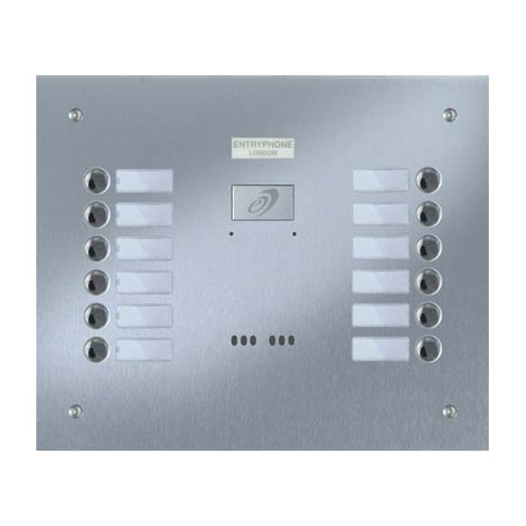 Entryphone - 12 Button Flush Brushed Stainless Steel Entrance Panel