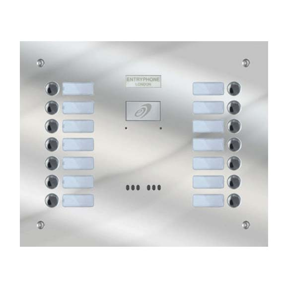 Entryphone - 14 Button Flush Polished Stainless Steel Entrance Panel