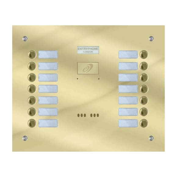 Entryphone - 14 Button Flush Polished Brass Entrance Panel