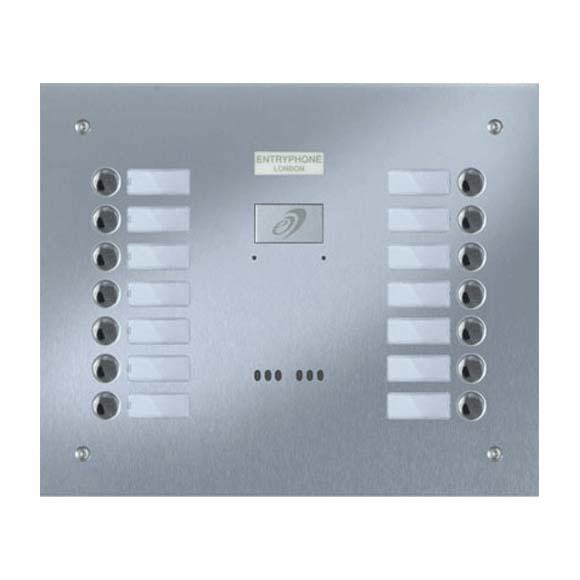 Entryphone - 14 Button Flush Brushed Stainless Steel Entrance Panel