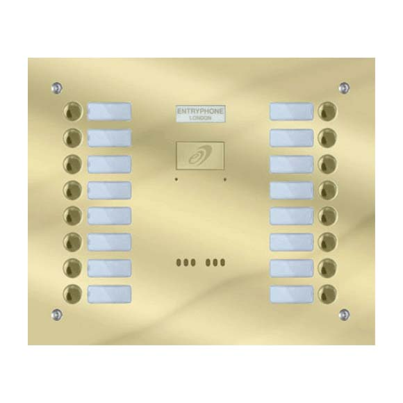 Entryphone - 16 Button Flush Polished Brass Entrance Panel