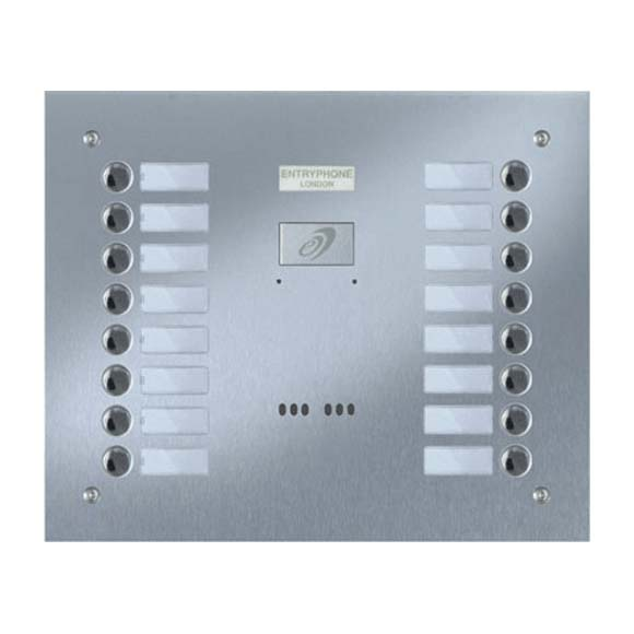 Entryphone - 16 Button Flush Brushed Stainless Steel Entrance Panel
