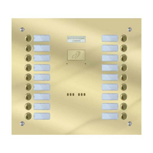 Entryphone - 18 Button Flush Polished Brass Entrance Panel