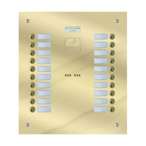 Entryphone - 20 Button Flush Polished Brass Entrance Panel