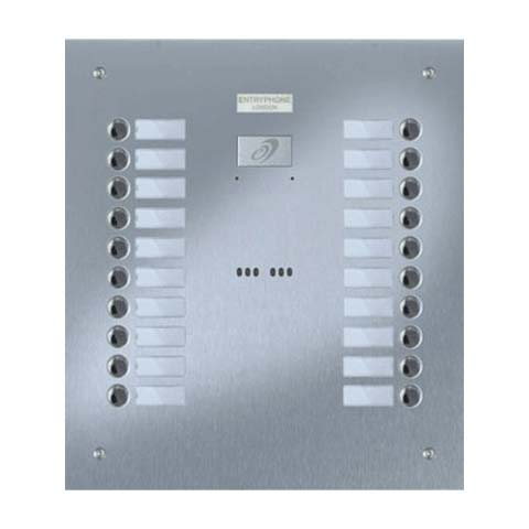 Entryphone - 20 Button Flush Brushed Stainless Steel Entrance Panel