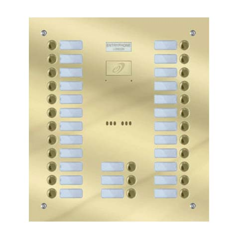 Entryphone - 27 Button Flush Polished Brass Entrance Panel