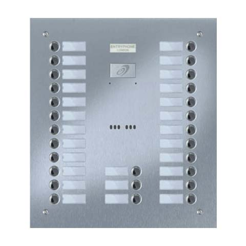Entryphone - 27 Button Flush Brushed Stainless Steel Entrance Panel