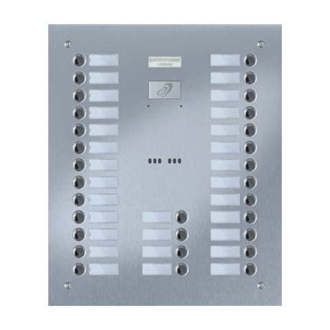 Entryphone - 30 Button Flush Brushed Stainless Steel Entrance Panel