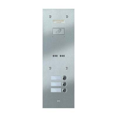 Entryphone - 3 Button Flush Brushed Stainless Steel Entrance Panel