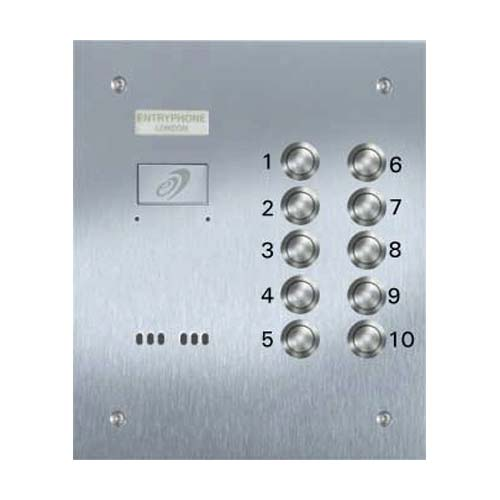 Entryphone - 10 Button Flush Vandal Resistan Stainless Steel Panel