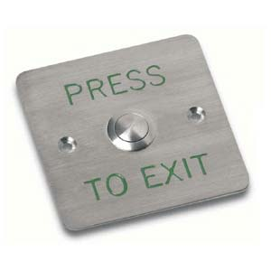 Flush s/steel exit button, special engraving 86x86