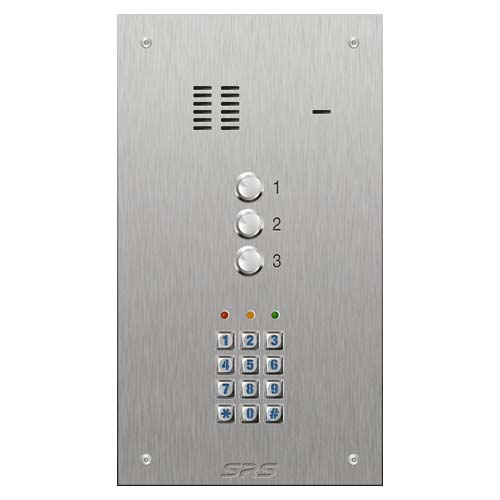 SRS 3 button s. steel VR audio entry panel + keypad Size D