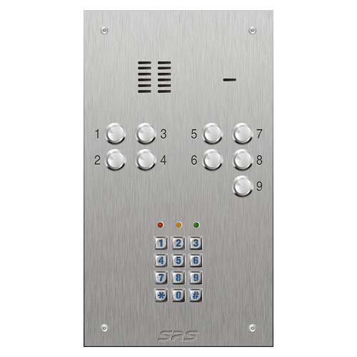 SRS 9 button s. steel VR audio entry panel + keypad Size D
