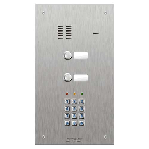 SRS 2 button s. steel VR audio entry panel + keypad Size D