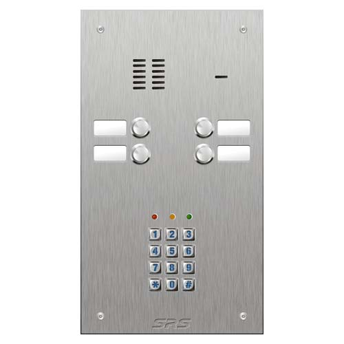 SRS 4 button s. steel VR audio entry panel + keypad Size D