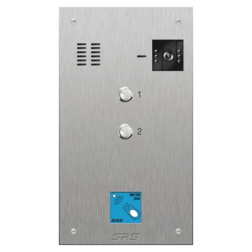 SRS 2 button s. steel VR video entry panel + prox. Size D