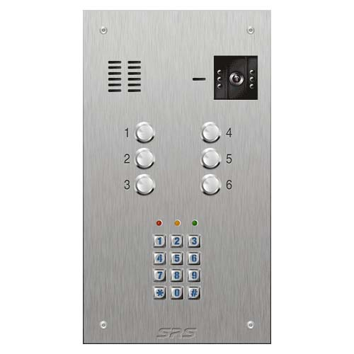 SRS 6 button s. steel VR video entry panel + keypad Size D