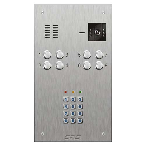 SRS 8 button s. steel VR video entry panel + keypad Size D
