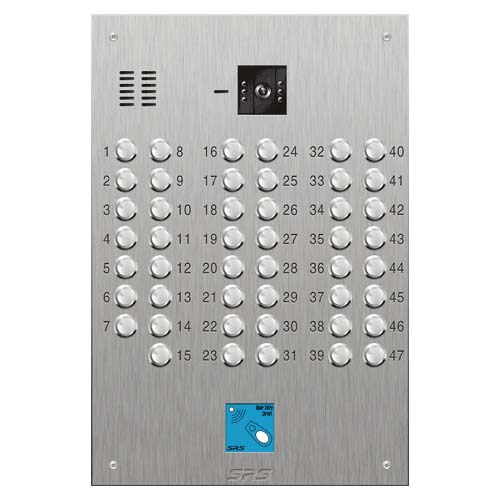 SRS 47 button s. steel VR video entry panel + prox. Size D4