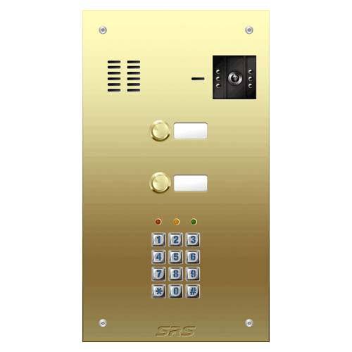 02 button Brass video panel, keypad, name win. size D