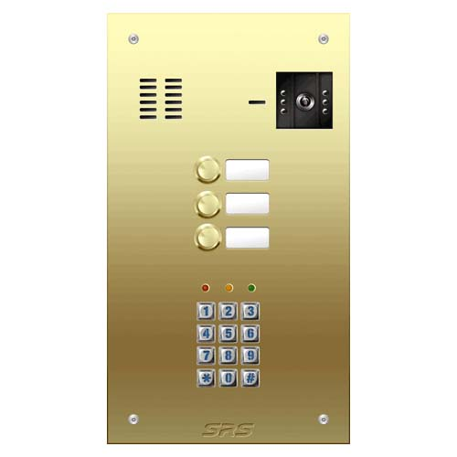 03 button Brass video panel, keypad, name win. size D