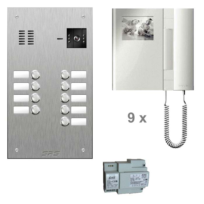 09 way colour kit - stainless steel panel & T-line monitors