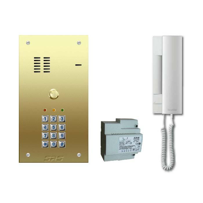 01 way VR door entry kit, brass panel, keypad engravable