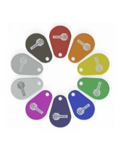 Entrotec ETAG-S Indigo Pack of 10 Slim EasiTag Key Fobs for access control.