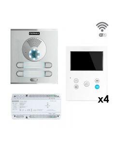 Fermax DSV-04/XSW four-way DUOX PLUS Skyline surface kit with VEO XS Wi-Fi monitor