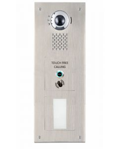 Aiphone IX-DV/S/SS+CPROX/WAVE 1-Button, Touch-free, Stainless-Steel, Vandal-Resistant IP Video Panel with Universal Prox Cut-Out for door entry.