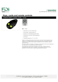 Urmet Remote Control data sheet