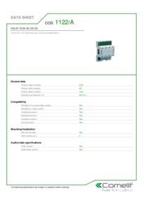 Comelit 1122/A data sheet