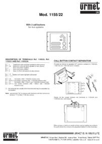 Urmet 1155/22 Technical Brochure