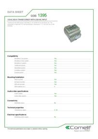 Comelit 1395 data sheet