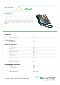 Comelit 1998VC data sheet