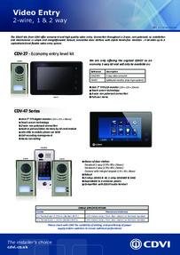 CDVI 1 & 2 Way Video Entry 2015 brochure