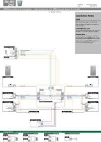 SRS audio installation diagram.  1 way, 2 entrances with DC50 keypad.  Tone Call entrance 1 and Buzzer call from entrance 2