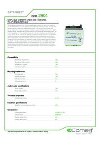 Comelit 2904 data sheet