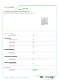 Comelit 3178 data sheet