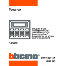 Bticino programming manual for 342600