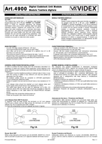 Videx 4900 digital keypad module - Installation Guide