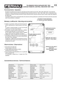 Fermax instructions for remote control Art. 7952
