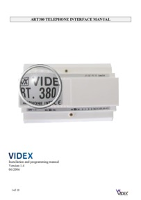 Videx 380 Telephone Interface Installation Manual