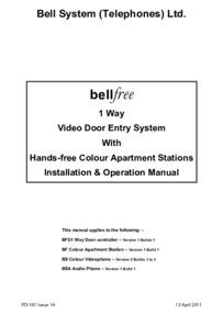 Bellfree BF 1 way user manual