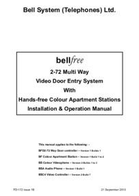 Bell (BSTL) Bellfree Manual BF2-72 Way (PD-172 Iss 1B)