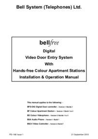 Bell (BSTL) bellfree Digital Video Entry Manual