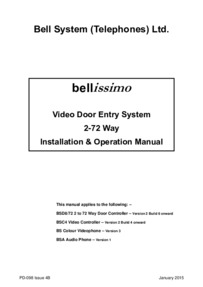 Bell System Instructions For Bellissimo Video Kit